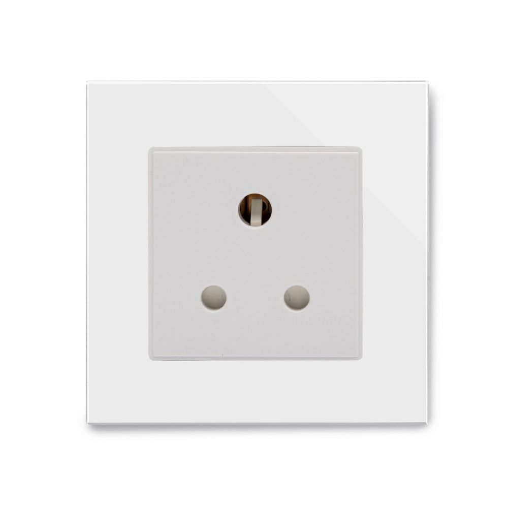 RetroTouch Single 5 Amp Round Pin Plug Socket White Glass PG 04002
